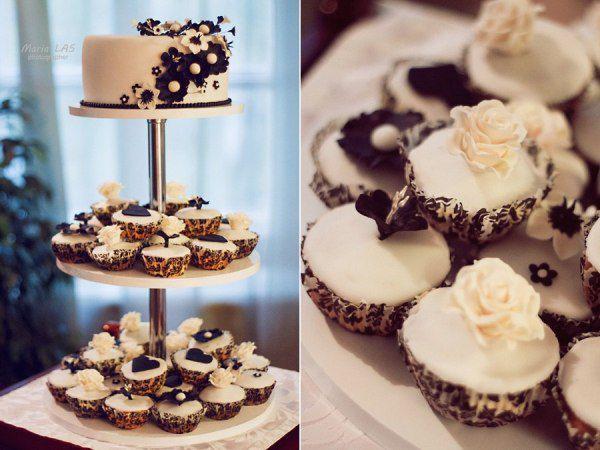 свадебный торт белый с черным