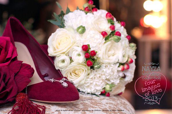 букет невесты с красными акцентами