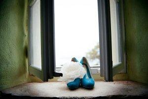 голубые свадебные туфли