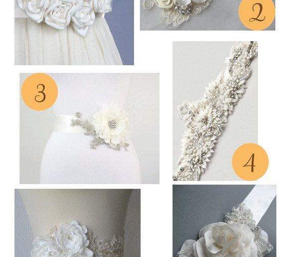 пояс с цветком к свадебному платью