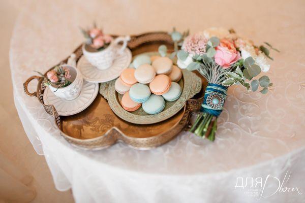 оформление свадьбы персиковый и мятный