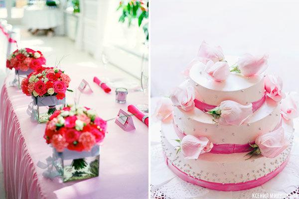 свадебный торт розовый с белым
