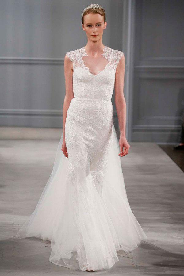 свадебное платье Monique Lhuillier с кружевной отделкой