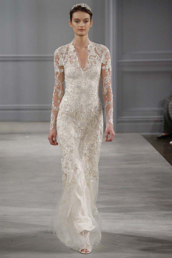 свадебные платья с кружевными рукавами Monique Lhuillier