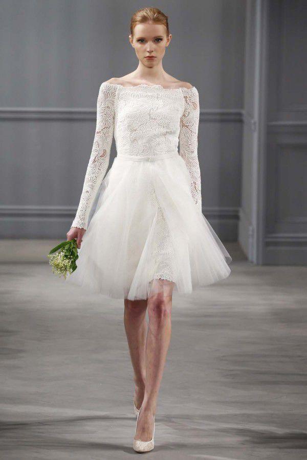 короткие свадебные платья с кружевом Monique Lhuillier