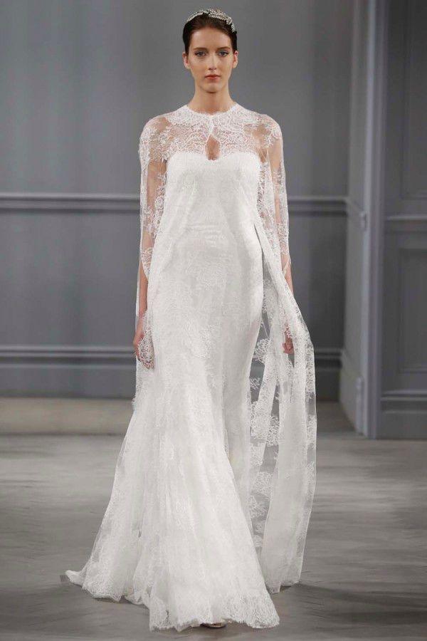 свадебные платья с кружевной отделкой Monique Lhuillier 2014