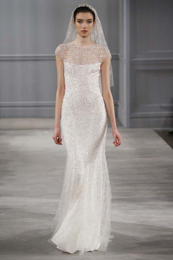 свадебное платье с отделкой блестками Monique Lhuillier