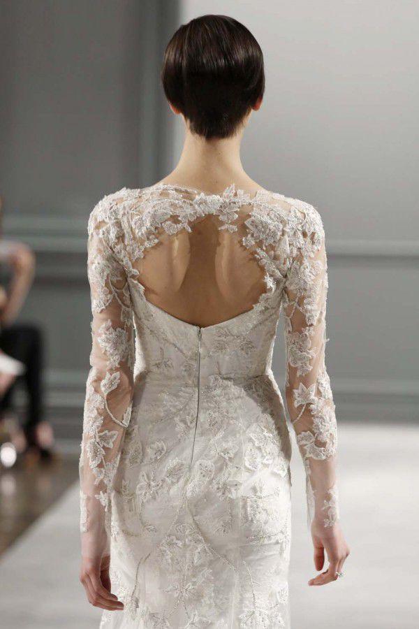 свадебные платья с кружевом Monique Lhuillier
