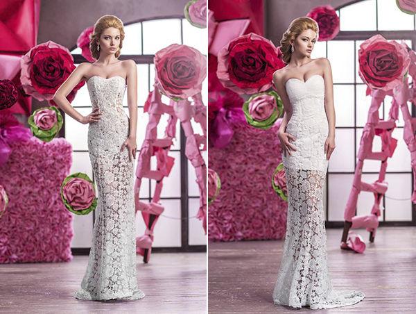 прямые свадебные платья с кружевом