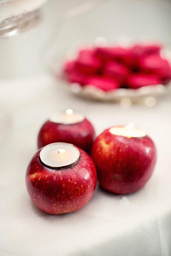 свечи в яблоках на свадьбу