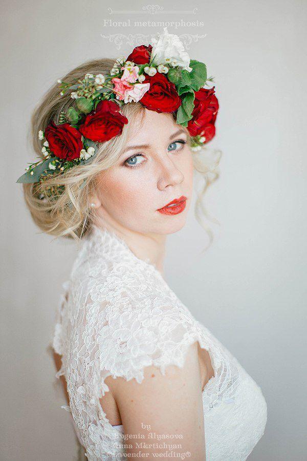 венок в прическе невесты