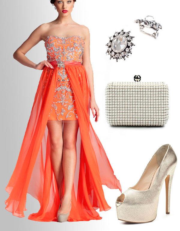 оранжевые платья подружек невесты