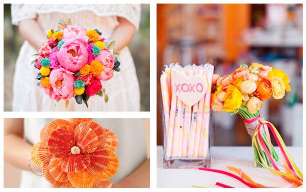 букеты невесты яркие