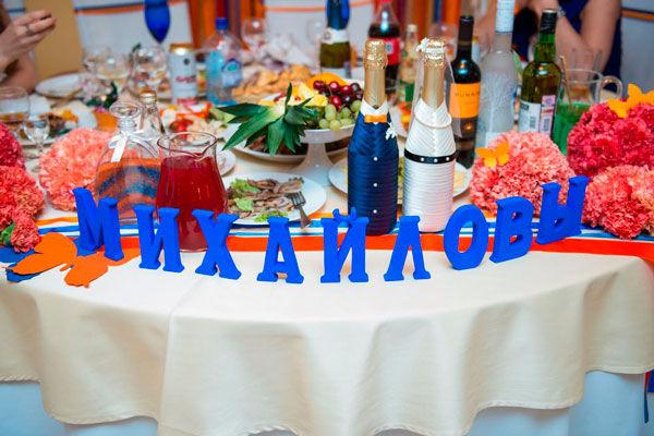 оранжево-синяя свадьба