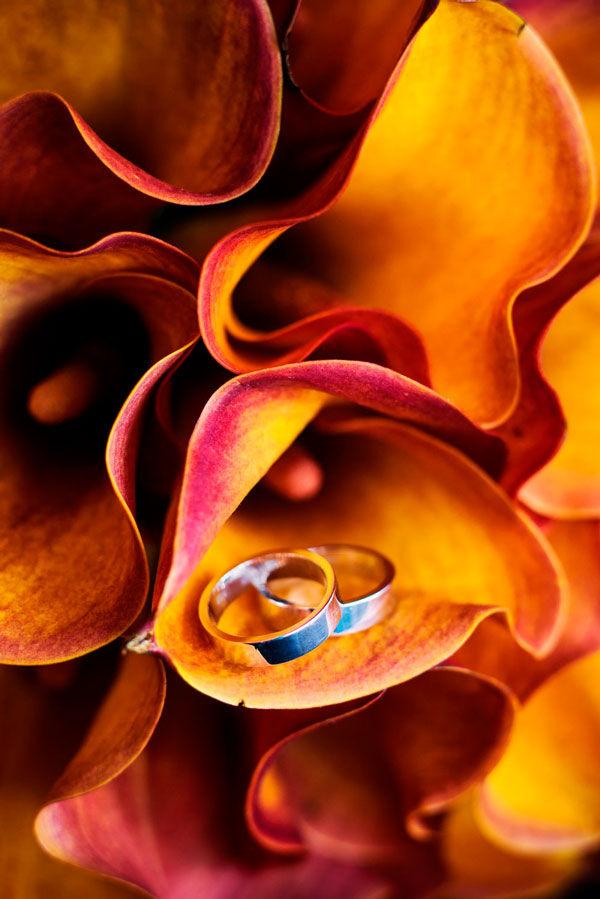 оранжевый букет невесты