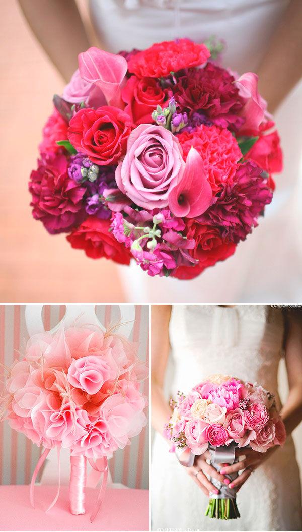 розовый букет невесты фото