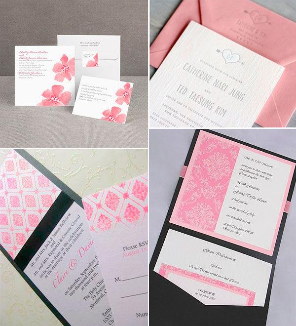 свадебные приглашения розовый
