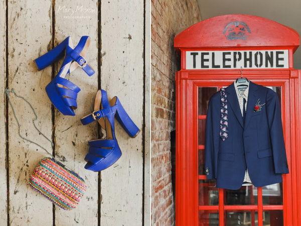 свадебные туфли синие