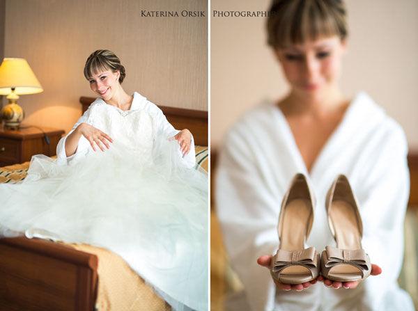бежевые свадебные туфли