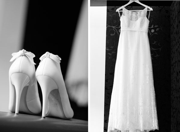 свадебное платое и туфли