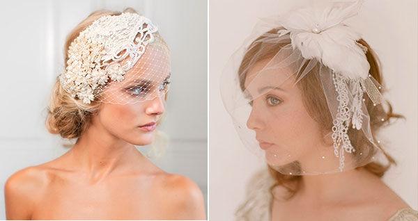 свадебные прически с вуалеткой фото