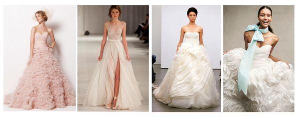 розовые пышные свадебные платья