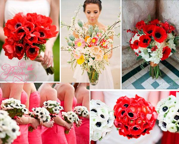 букет невесты красно белый