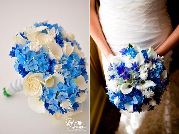 букет невесты сине белый