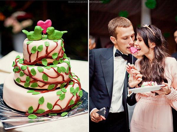свадебный торт с птичками