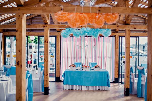 голубая свадьба оформление