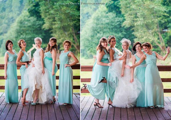 подружки невесты в мятном