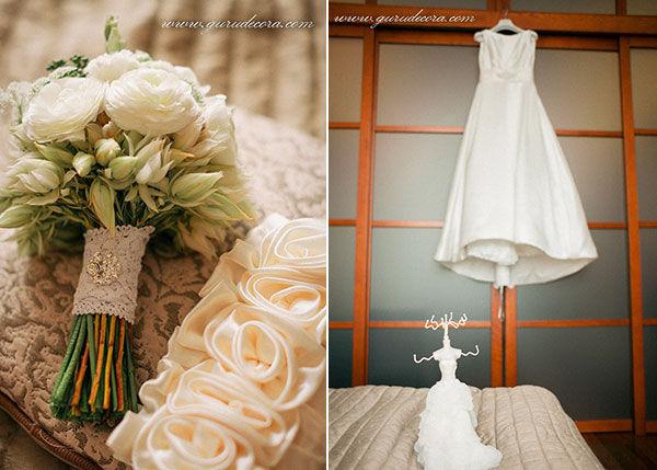 свадебное платье и букет невесты