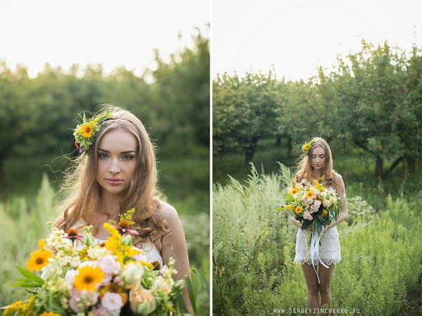 прическа невесты с живыми цветами