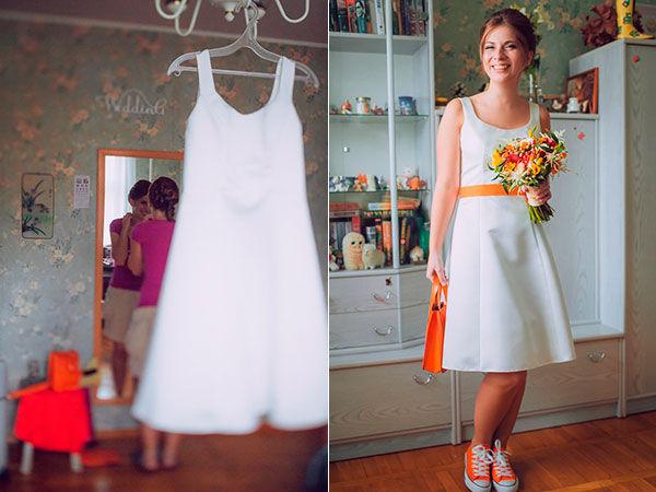 короткое свадебное платье с поясом