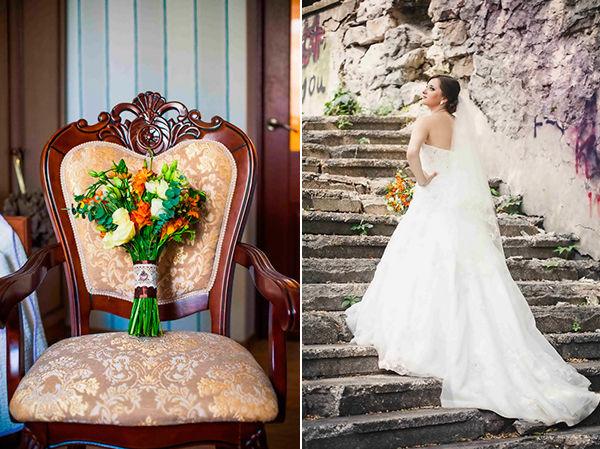 букет невесты с оранжевым