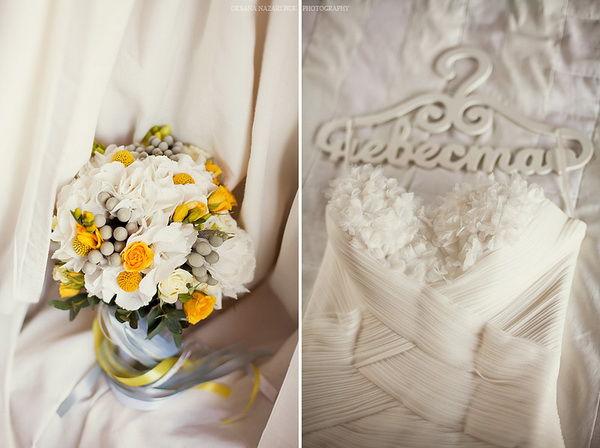 букет невесты с желтым