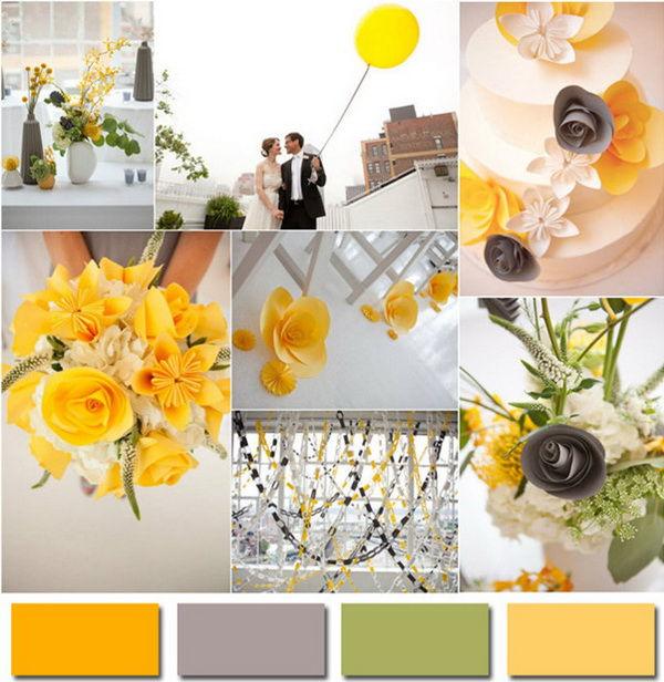 Свадьба в серо желтом цвете