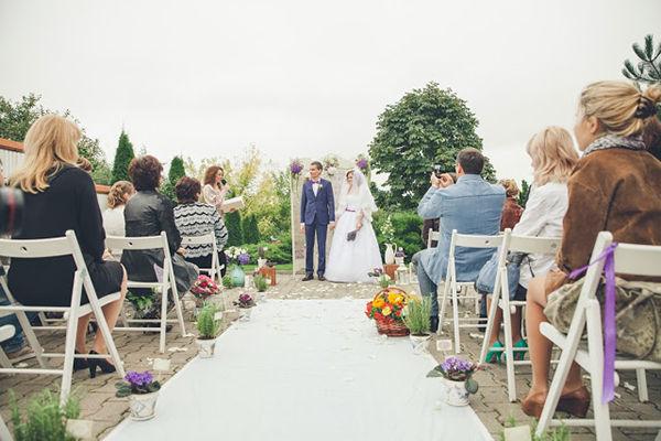 свадебная церемония осенью