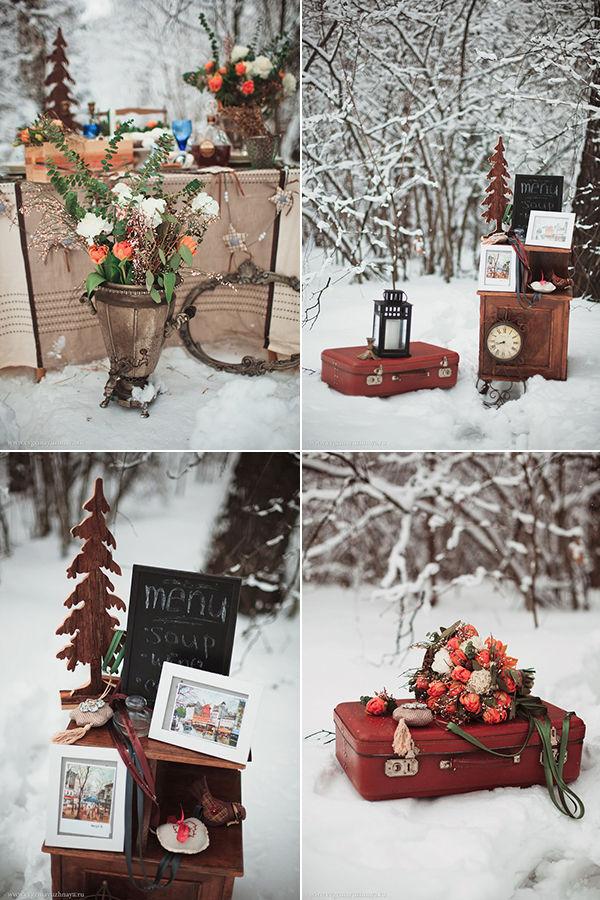 зимняя свадьба декор