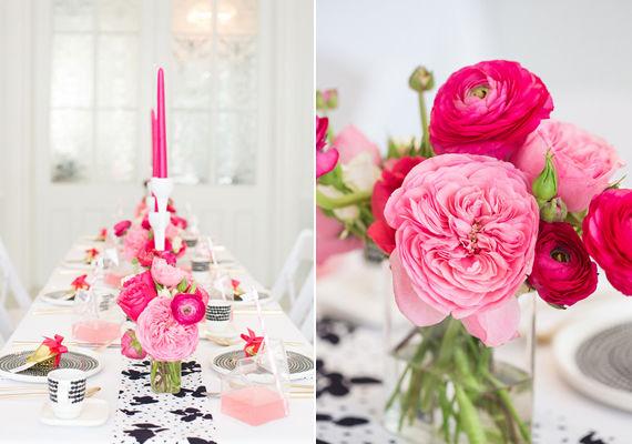 розовый, черный и белый на свадьбе