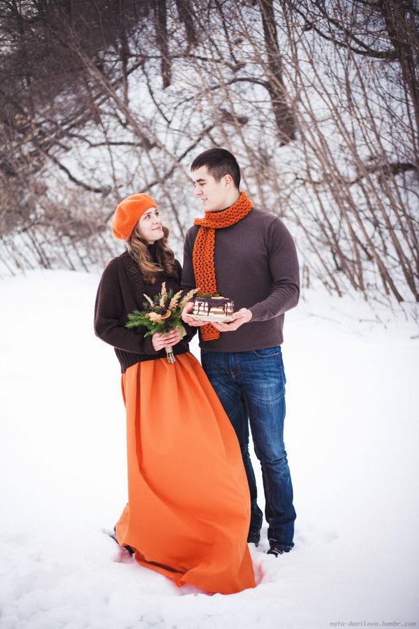 фотосессия в оранжевом цвете