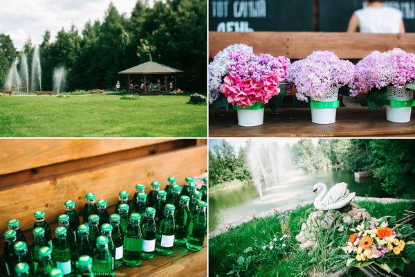 свадьба в зелено-розовом цвете