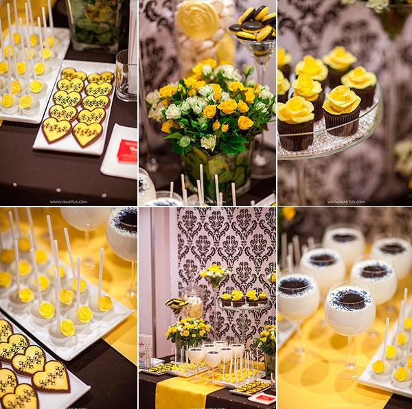 сладкий стол в желтом цвете
