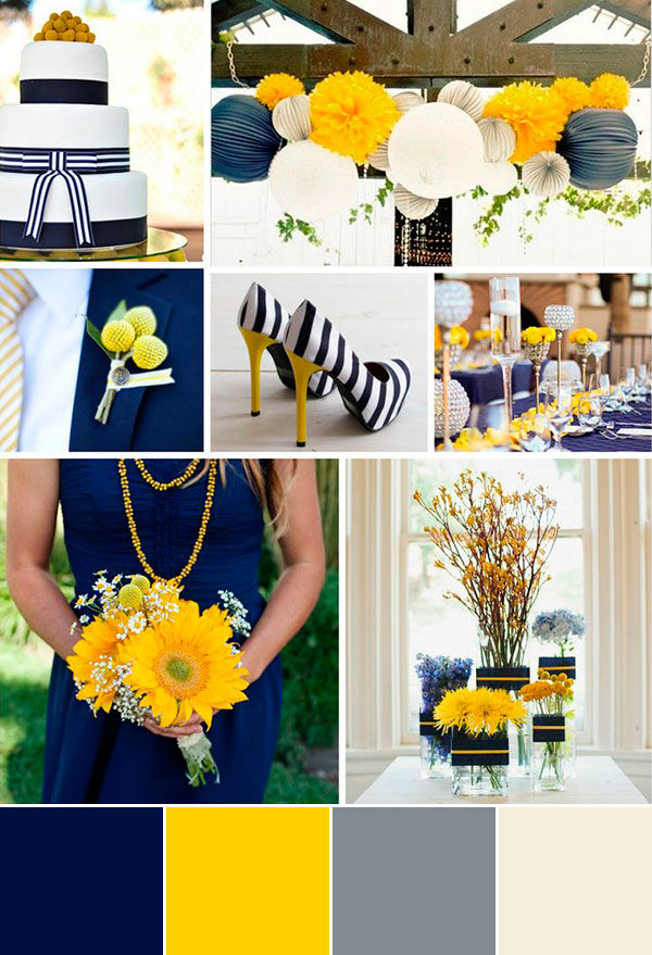 свадьба в желто синем цвете