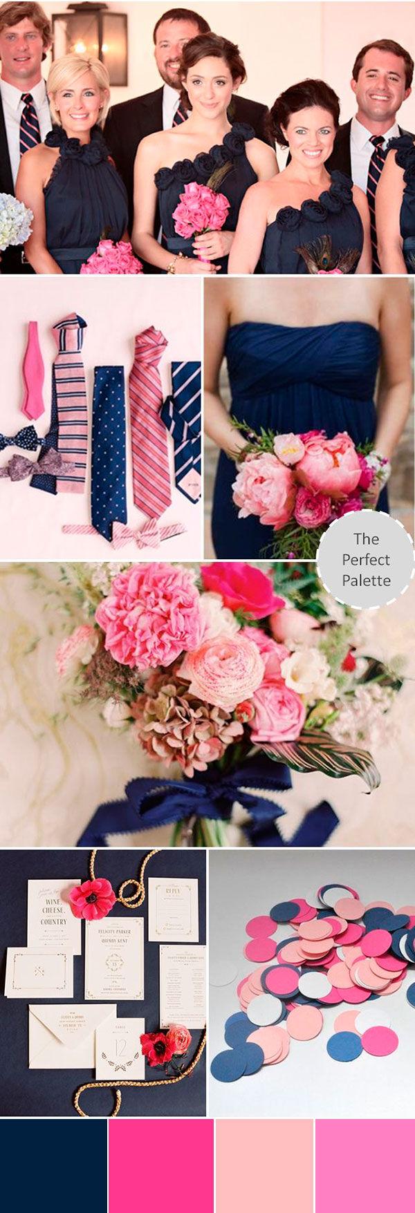 свадьба в синем и розовом цветах