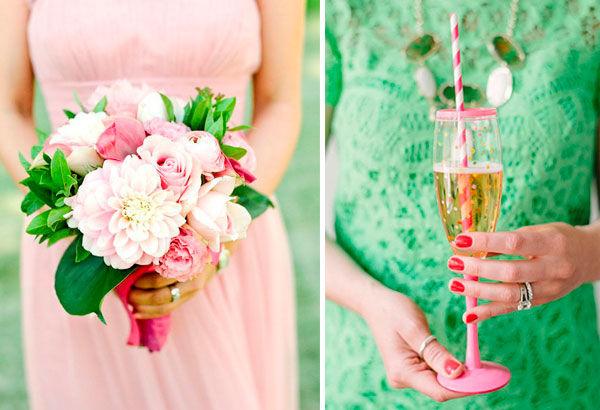 свадьба в розово зеленом цвете