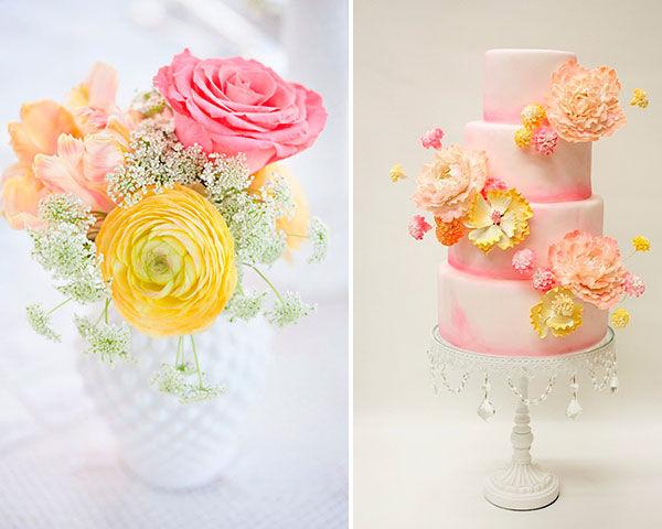 желтый и розовый на свадьбе