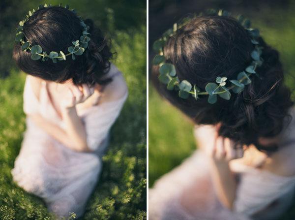 прическа невесты с венком