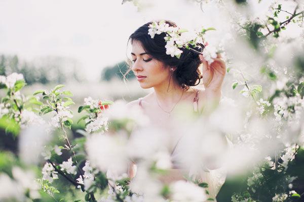 съемка в цветущем саду