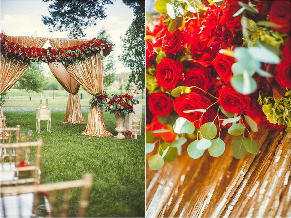 оформление свадьбы красными розами